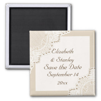 White lace with pearls wedding Save the Date Magnet