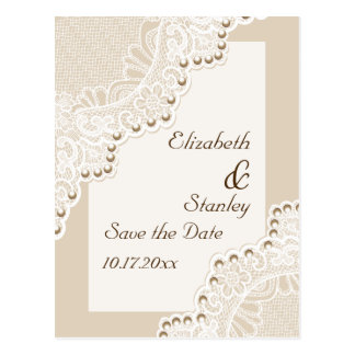 White lace with pearls wedding Save the Date Postcard