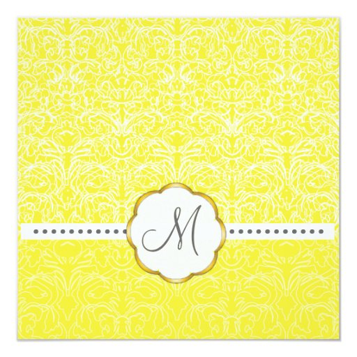 White Lace+ Yellow Accent Wedding Invitations