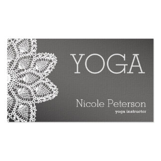 White Lace Yoga Double-Sided Standard Business Cards (Pack Of 100)