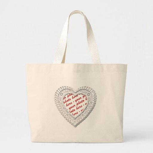 White Laced Heart Photo Frame Canvas Bag