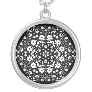 White Lacy Petals Silver Plated Necklace