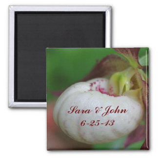 White Lady Slipper Orchid Wedding Favor Magnet