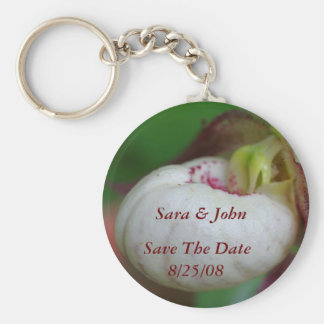 White Lady Slipper Save The Date Wedding Keychain