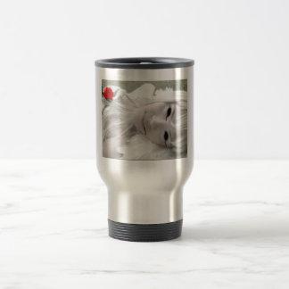 White lady travel mug
