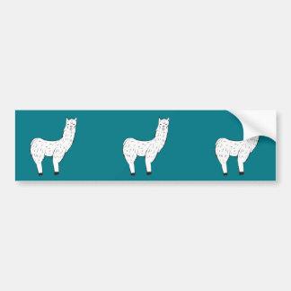 White Lama Bumper Car Sticker