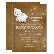 White Lamb Baby Boy Shower Invitation
