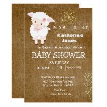 White Lamb Baby Shower Invitation