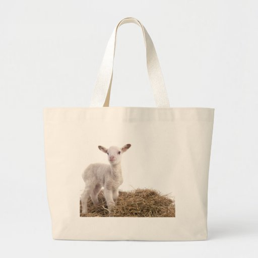 white lamb tote bag