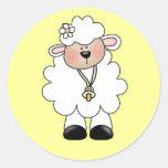 White Lamb Tshirts and Gifts Round Sticker