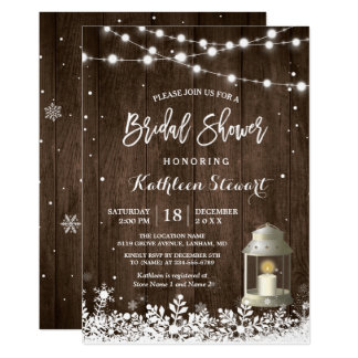 White Lantern String Lights Winter Bridal Shower Invitation