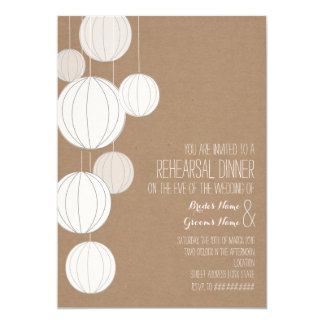 White Lanterns Cardstock Inspired Rehearsal 5x7 Paper Invitation Card