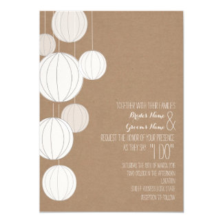 White Lanterns Cardstock Inspired Wedding 5x7 Paper Invitation Card