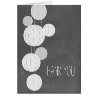 White Lanterns Chalkboard Inspired Thank You Cards