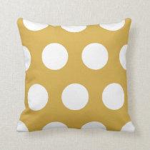 White Large Polka Dots Custom Color Throw Cushion