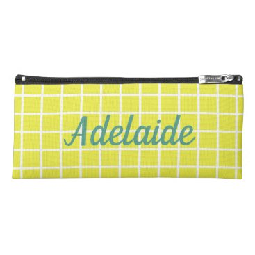 USA Themed White Lattice on Comic Book Yellow Personalized Pencil Case