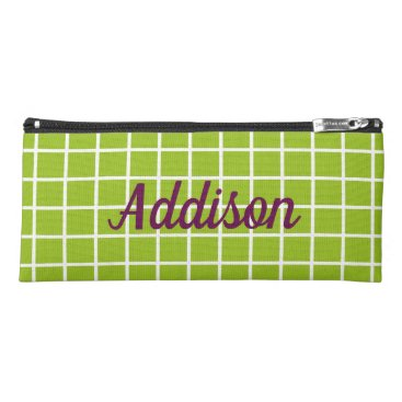 USA Themed White Lattice on Tart Apple Green Personalized Pencil Case