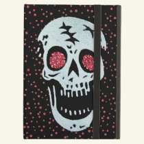 White Laughing Skull Faux Red glitter Eyes Dots Case For iPad Air