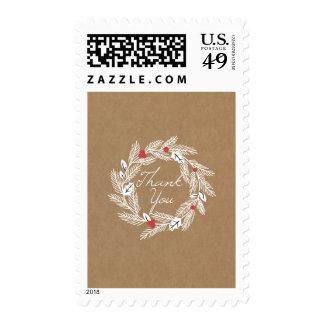 White Laurel Wreath Kraft Paper Thank You Postage