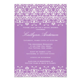 White & Lavender Damask Bridal Shower Invitation