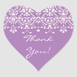 White & Lavender Damask Thank You Sticker