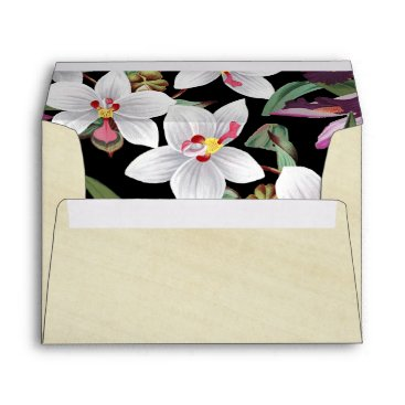 Hawaiian Themed White Lavender Orchid Flowers Rice Paper Envelope