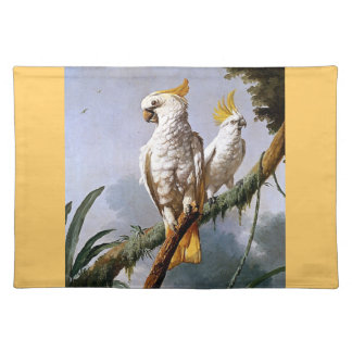 White Leadbeaters Parrots Tropical Birds painting Placemats