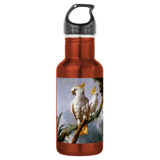 White Leadbeaters Parrots Tropical Birds painting Stainless Steel Water Bottle