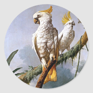 White Leadbeaters Parrots Tropical Birds painting Round Sticker