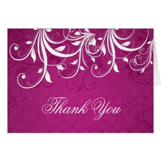 White leafy swirls on magenta Wedding Thank You Card