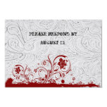White Leather and Red Lace RSVP with envelopes Custom Invites