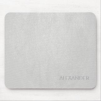 White Leather Pattern Texture- Custom Monogram Tex Mousepad
