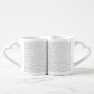 White Leather Texture Lovers Mug Sets