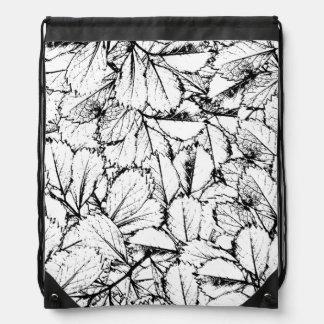 White Leaves Drawstring Backpack