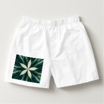 White Leaves In A Green Forest Kaleidoscope Boxers