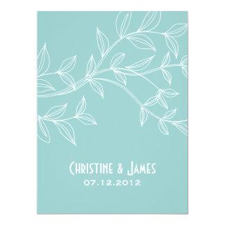 "White leaves on aqua, subtle wedding invitation 6.5"" x 8.75"" invitation card"