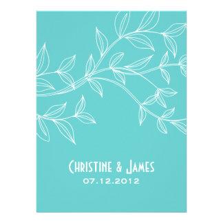 White leaves on aqua, subtle wedding invitation