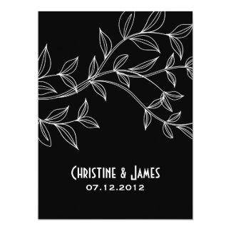 White leaves on black, subtle wedding invitation