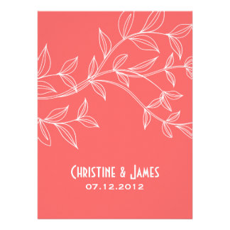 White leaves on coral, subtle wedding invitation