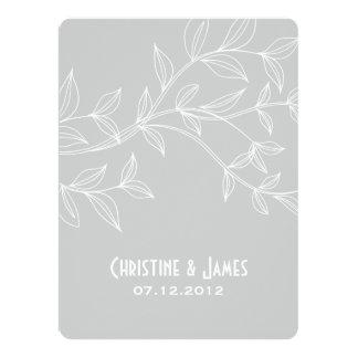 White leaves on grey, subtle wedding invitation