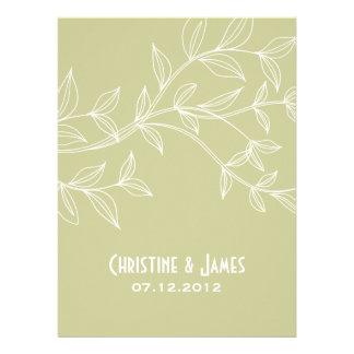 White leaves on khaki, subtle wedding invitation
