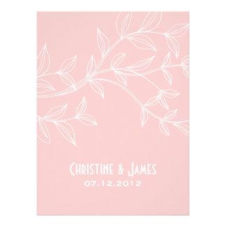 White leaves on misty rose wedding invitation