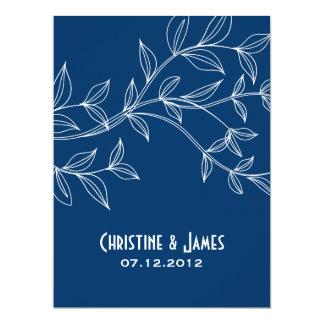 White leaves on navy blue wedding invitation