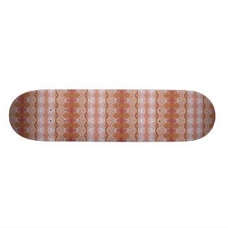 white leaves on peach skateboard