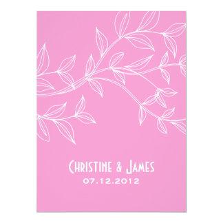 White leaves on pink, subtle wedding invitation