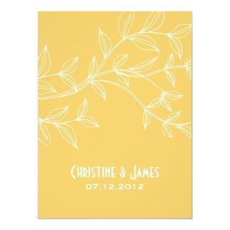 White leaves on yellow, subtle wedding invitation 17 cm x 22 cm invitation card