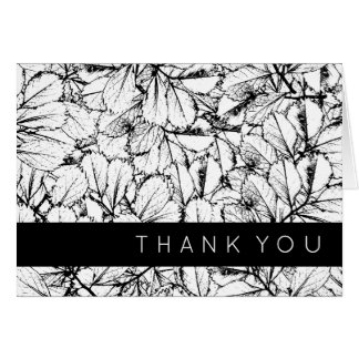 White Leaves Thank You Card