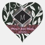white leaves wedding heart sticker