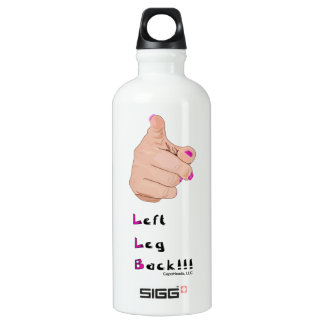 White Left Leg Back Water Bottle with Pink Print