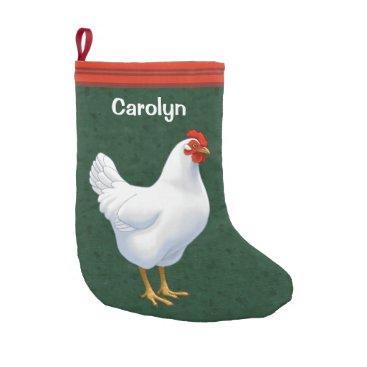 Fun_Forest White Leghorn Chicken Hen Small Christmas Stocking